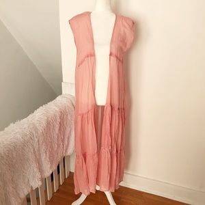 Betsey Johnson Pink Duster Vest Cardigan NWT ✨